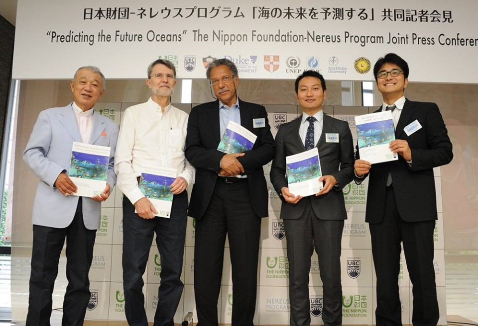 Left to right: Yohei Sasakawa (Chairman, The Nippon Foundation), Professor Jorge Sarmiento (Princeton University), Professor Daniel Pauly (University of British Columbia), Associate Professor William Cheung (Nereus Program Co-director) and Dr. Yoshitaka Ota (Nereus Program Co-director).