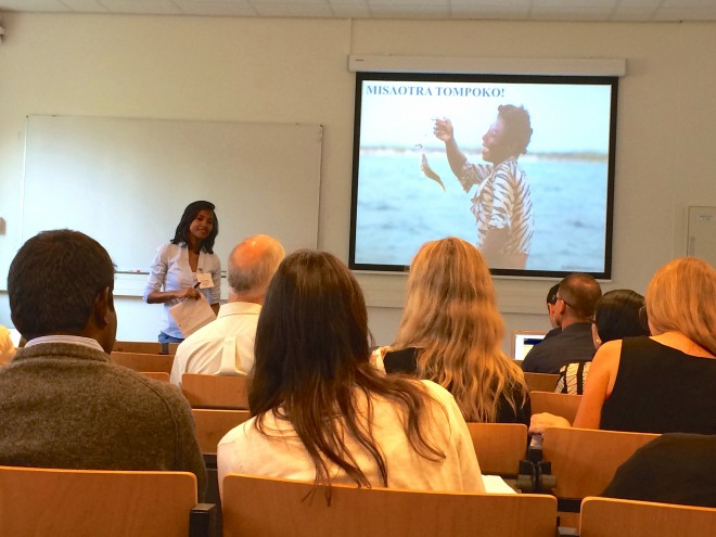 "Vatosoa Rakotondrazafy gives her presentation ""National Fisheries Governance and Community Based management in Madagascar"" at the MARE Conference 2015."