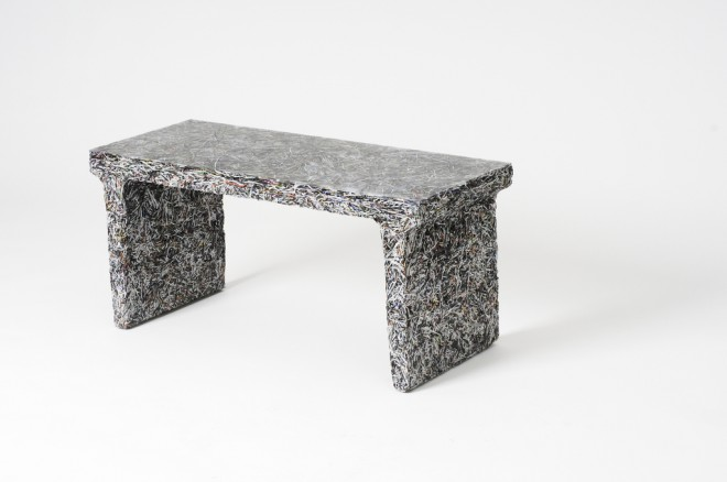 "Jens Praet, Shredded Bench - Capital File Edition, 2011, Shredded magazines & resin, 16"" x 35"" x 14"", by Artisphere (CC BY-ND 2.0)."