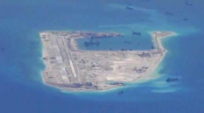 Fiery Cross Reef -- an artificial island created by China. Source: Wikimedia Commons.