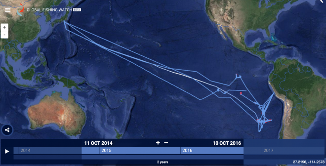 Global Fishing Watch tracking Kaio Maru No. 81