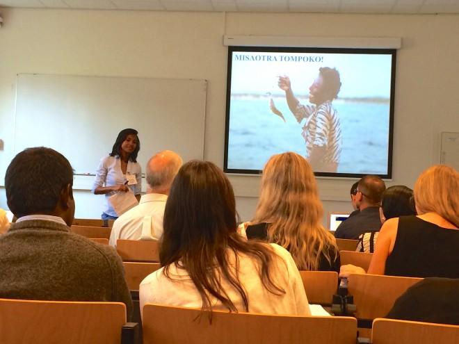 "Vatosoa Rakotondrazafy gives her presentation ""National Fisheries Governance and Community Based management in Madagascar"" at the MARE Conference 2015."
