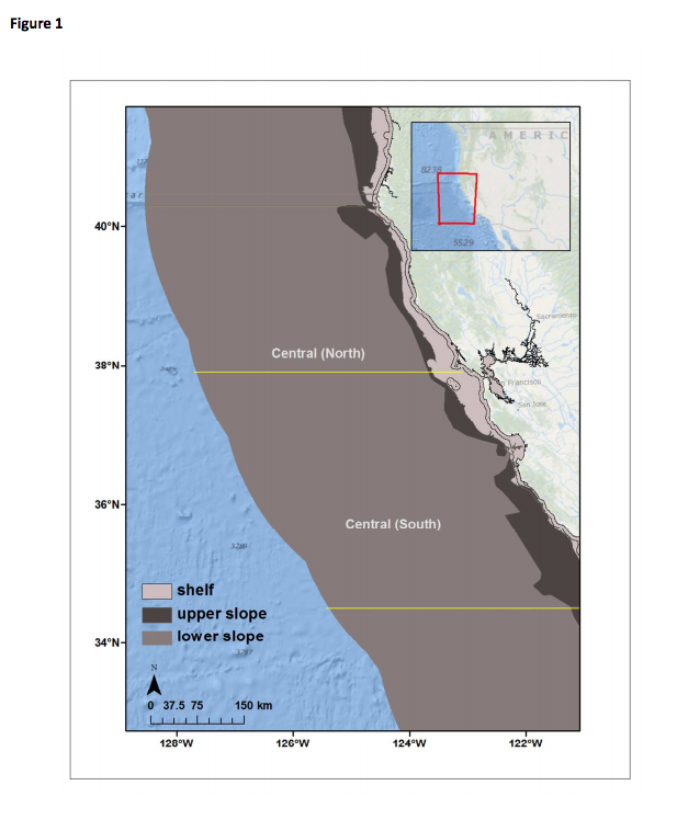 Figure 1. Map of the US west coast showing EEZ limits and the spatial extent of the southern and northern regions demarcated in this analysis.