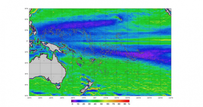 Figure 1. Thermal ocean front frequency map for the study area from 2006 to 2012 (percentage of time for which a strong front was observed, based on 8-day periods). White dots represent the location of seamount considered in this study, and the colour scale bar represents front frequency.