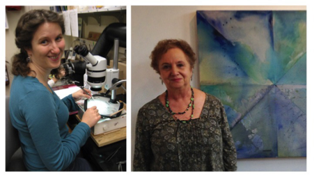 The author and her mother (Clare Asch) hard at work practicing science and art.
