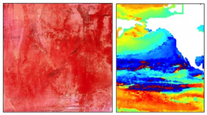Left: Piroska, oil on canvas.  Credit: Clare Asch.  Right: Colormap image showing the mean date of the termination of phytoplankton blooms in the North Pacific. Credit: Rebecca Asch.