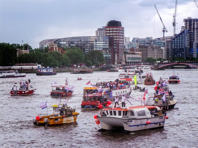 """Brexit boats on Thames - """"BoatLeave - 03"""" by Garry Knight"""