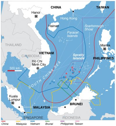Map of the competing territorial claims in the South China Sea. Source: Wikimedia Commons.
